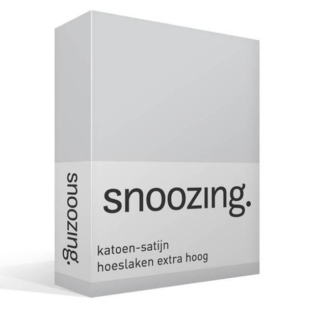 Snoozing - Katoen-satijn - Hoeslaken - Extra Hoog - 200x200 - Grijs