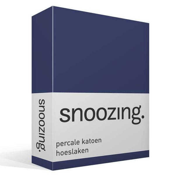 Snoozing - Hoeslaken -200x200 - Percale katoen - Navy