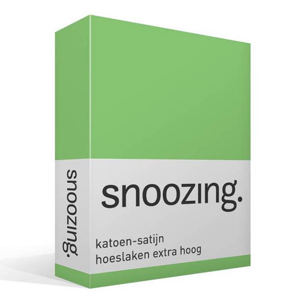 Snoozing - Katoen-satijn - Hoeslaken - Extra Hoog - 200x200 - Lime