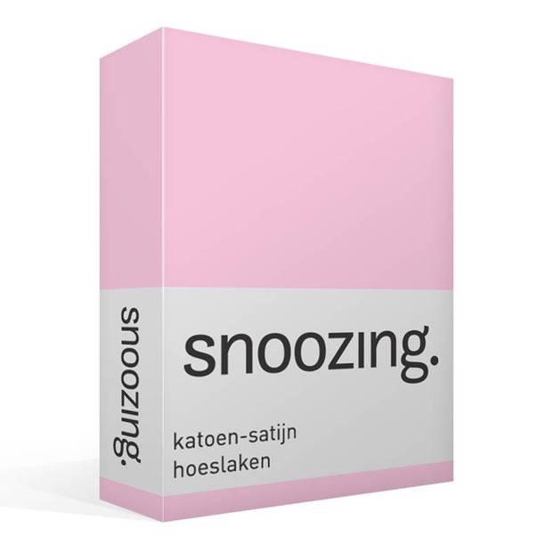 Snoozing - Katoen-satijn - Hoeslaken - 200x200 - Roze