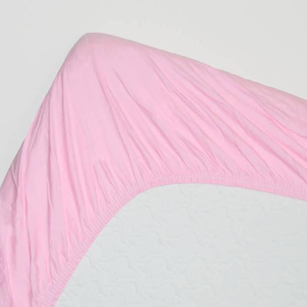 Snoozing - Katoen-satijn - Hoeslaken - 180x220 - Roze