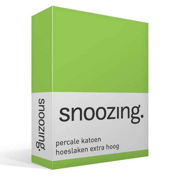 Snoozing - Hoeslaken - Percale katoen - Extra Hoog - 200x200 - Lime