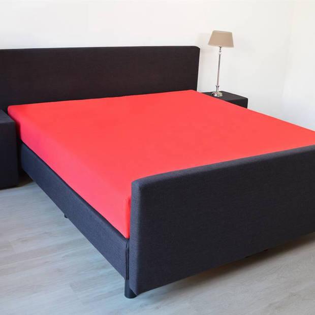 Snoozing - Katoen-satijn - Hoeslaken - Extra Hoog - 160x220 - Rood