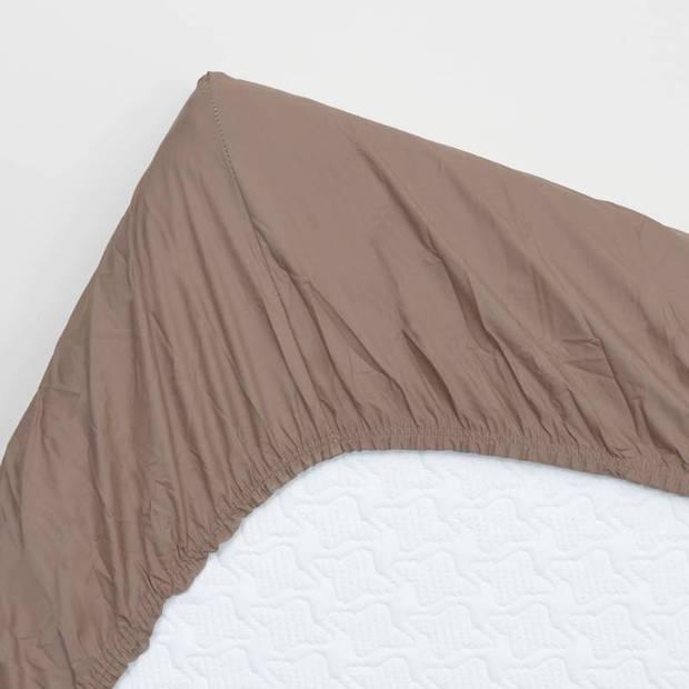 Snoozing - Hoeslaken - Percale katoen - Extra Hoog - 180x220 - Taupe