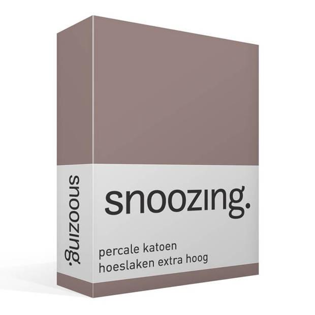 Snoozing - Hoeslaken - Percale katoen - Extra Hoog - 200x200 - Taupe