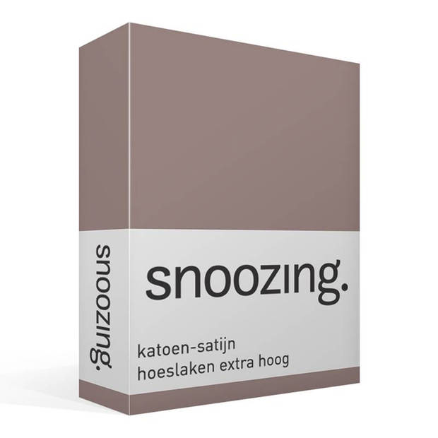 Snoozing - Katoen-satijn - Hoeslaken - Extra Hoog - 180x220 - Taupe