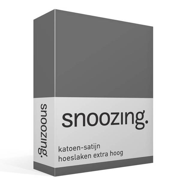 Snoozing - Katoen-satijn - Hoeslaken - Extra Hoog - 180x220 - Antraciet