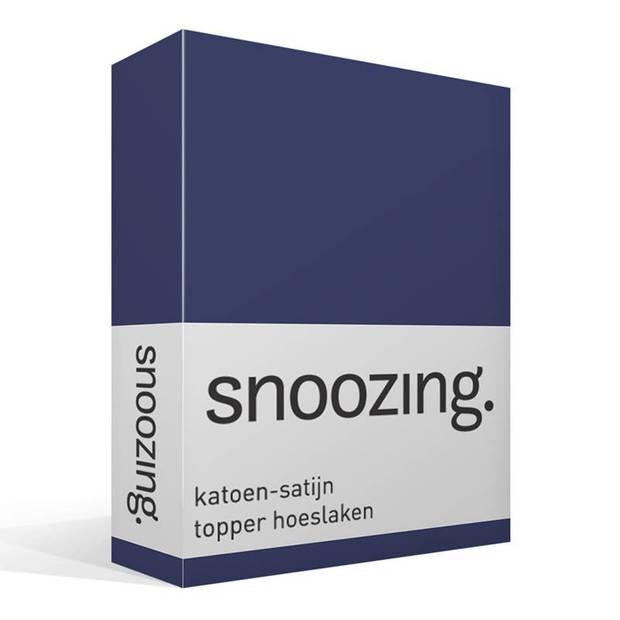 Snoozing - Katoen-satijn - Topper - Hoeslaken - 160x210 - Navy