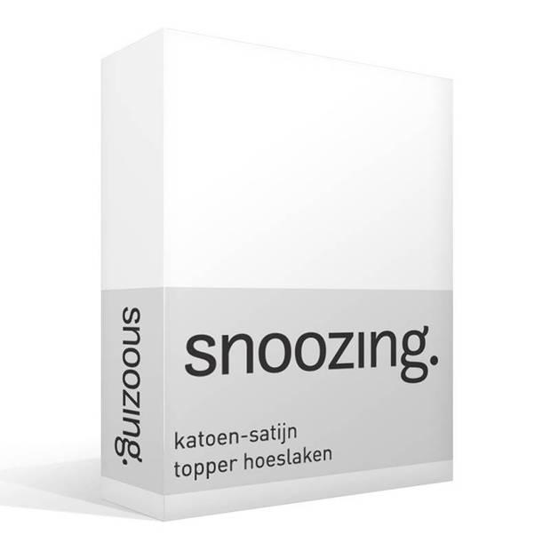 Snoozing - Katoen-satijn - Topper - Hoeslaken - 200x220 - Wit
