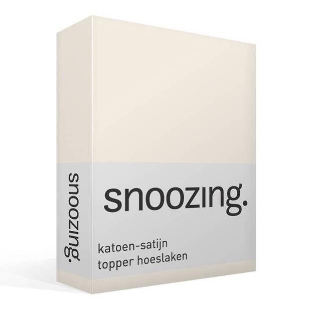 Snoozing - Katoen-satijn - Topper - Hoeslaken - 200x220 - Ivoor