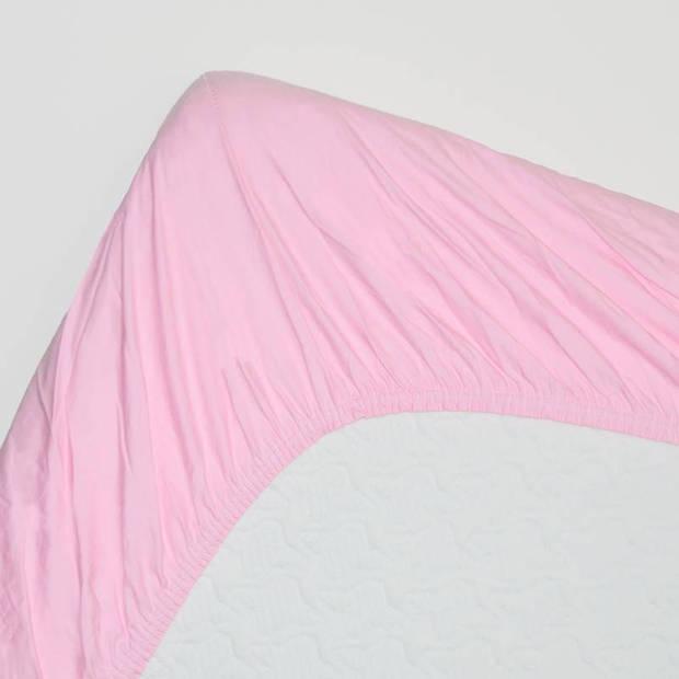Snoozing - Katoen-satijn - Topper - Hoeslaken - 160x210 - Roze