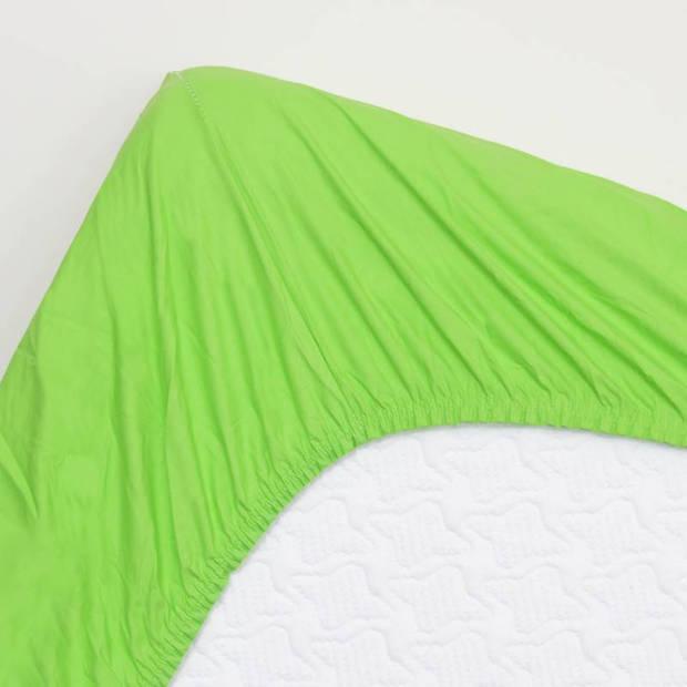 Snoozing - Katoen-satijn - Hoeslaken - 160x220 - Lime
