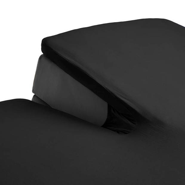 Beddinghouse percale katoen split-topper hoeslaken - 100% percale katoen - Lits-jumeaux (180x200 cm) - Black