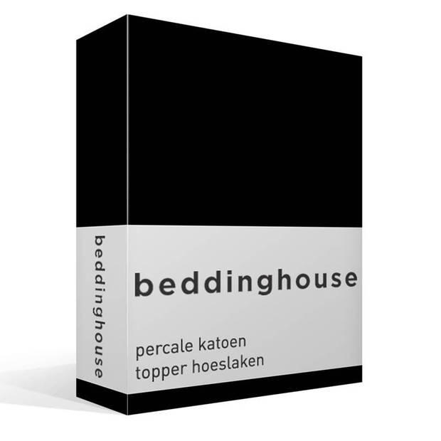 Beddinghouse percale katoen topper hoeslaken - 100% percale katoen - Lits-jumeaux (180x210/220 cm) - Black