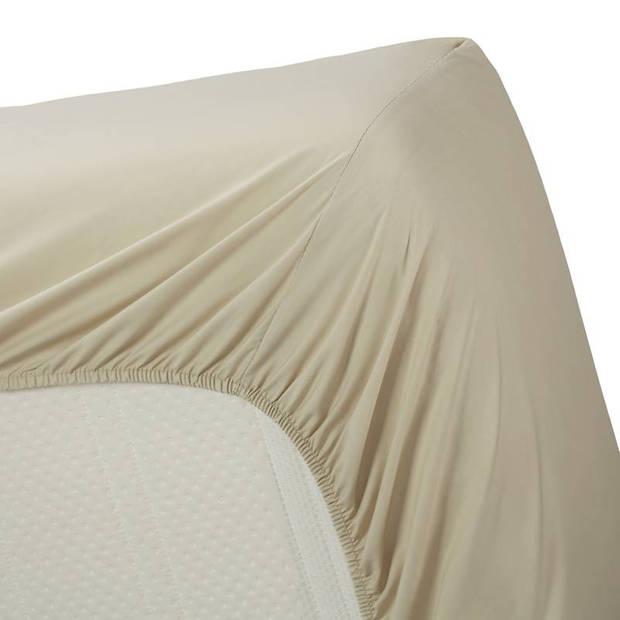 Beddinghouse percale katoen hoeslaken - 100% percale katoen - Lits-jumeaux (160x200 cm) - Sand