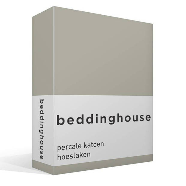 Beddinghouse percale katoen hoeslaken - 100% percale katoen - Lits-jumeaux (180x200 cm) - Sand