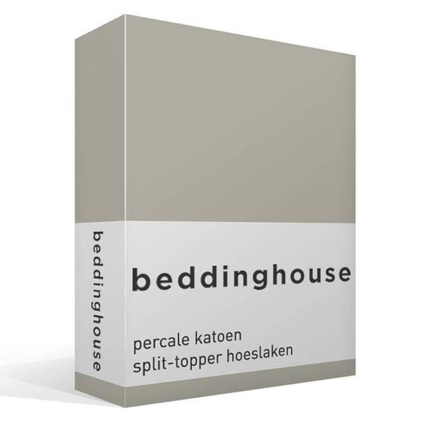 Beddinghouse percale katoen split-topper hoeslaken - 100% percale katoen - Lits-jumeaux (160x210/220 cm) - Sand