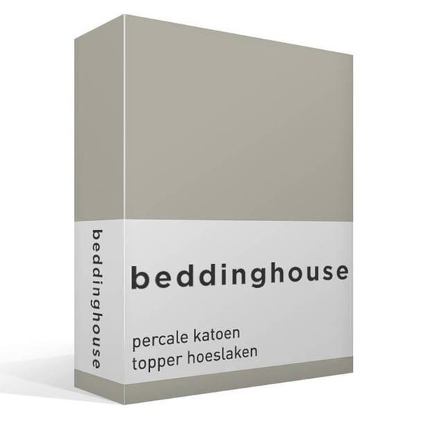 Beddinghouse percale katoen topper hoeslaken - 100% percale katoen - Lits-jumeaux (180x210/220 cm) - Sand