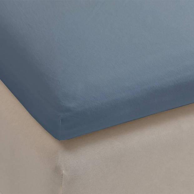 Beddinghouse jersey topper hoeslaken - 100% gebreide jersey katoen - Lits-jumeaux (180x200/220 cm) - Blue