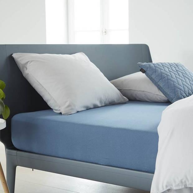 Beddinghouse jersey hoeslaken - 100% gebreide jersey katoen - Lits-jumeaux (160x200/220 cm) - Blue