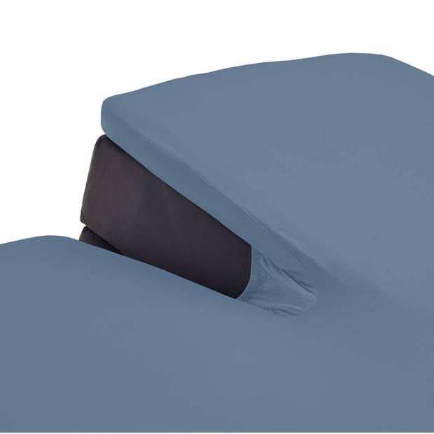 Beddinghouse jersey split-topper hoeslaken - 100% gebreide jersey katoen - Lits-jumeaux (180x200/220 cm) - Blue