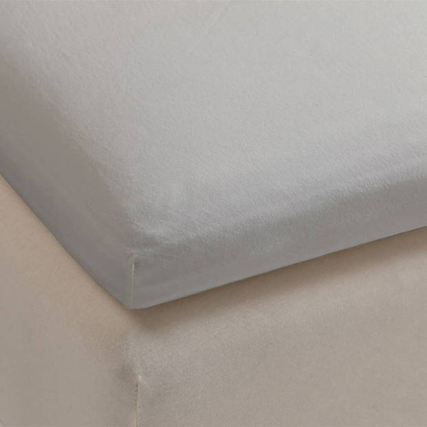 Beddinghouse percale katoen topper hoeslaken - 100% percale katoen - Lits-jumeaux (160x200 cm) - Light grey