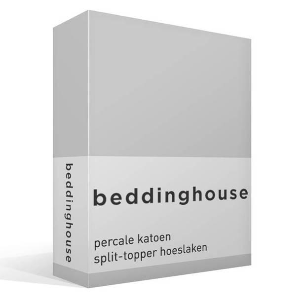 Beddinghouse percale katoen split-topper hoeslaken - 100% percale katoen - Lits-jumeaux (180x210/220 cm) - Light grey
