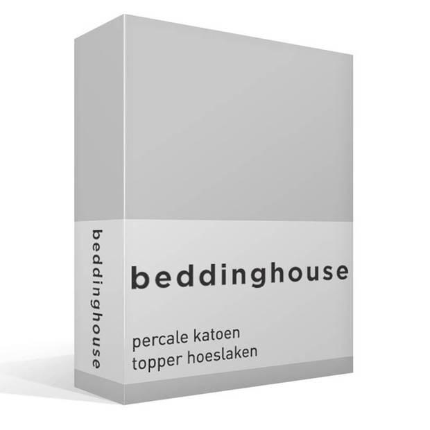 Beddinghouse percale katoen topper hoeslaken - 100% percale katoen - Lits-jumeaux (180x200 cm) - Light grey