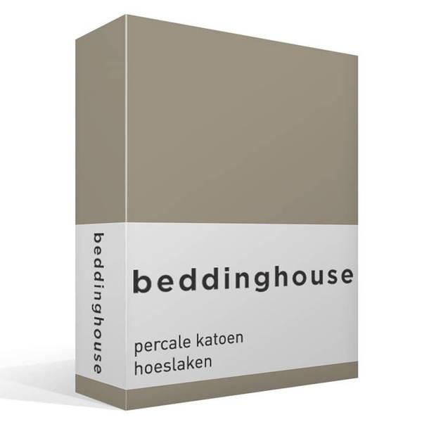 Beddinghouse percale katoen hoeslaken - 100% percale katoen - Lits-jumeaux (180x200 cm) - Taupe