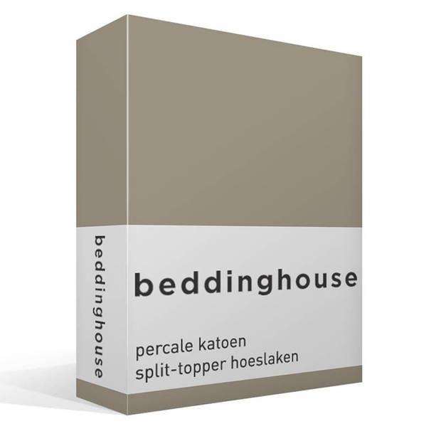 Beddinghouse percale katoen split-topper hoeslaken - 100% percale katoen - Lits-jumeaux (160x200 cm) - Taupe