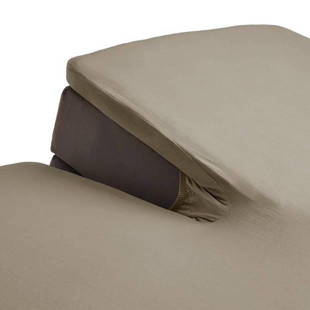 Beddinghouse percale katoen split-topper hoeslaken - 100% percale katoen - Lits-jumeaux (160x210/220 cm) - Taupe