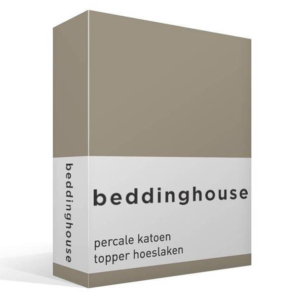 Beddinghouse percale katoen topper hoeslaken - 100% percale katoen - Lits-jumeaux (160x210/220 cm) - Taupe