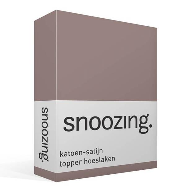 Snoozing - Katoen-satijn - Topper - Hoeslaken - 160x220 - Taupe