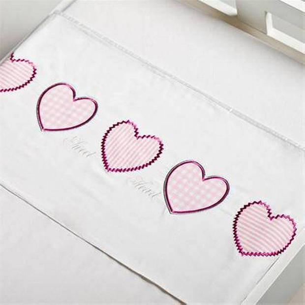 Briljant Baby Heart katoen kinderlaken - 100% katoen - Ledikant (100x150 cm) - Roze