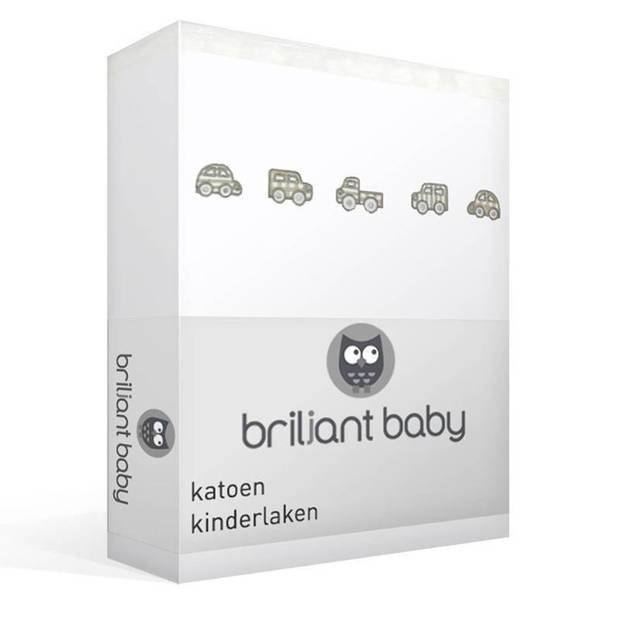 Briljant Baby Auto katoen kinderlaken - 100% katoen - Ledikant (100x150 cm) - Wit