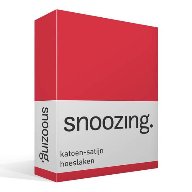 Snoozing - Katoen-satijn - Hoeslaken - 200x200 - Rood