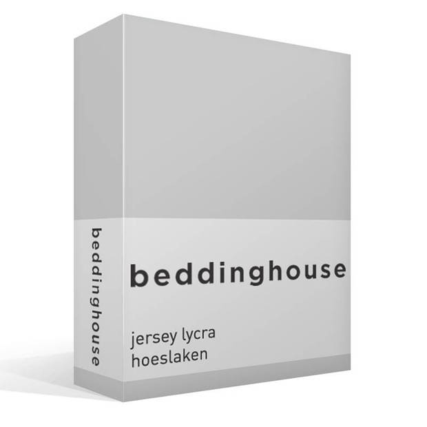 Beddinghouse jersey lycra hoeslaken - 95% gebreide katoen - 5% lycra - Lits-jumeaux (180/200x200/220 cm) - Light grey
