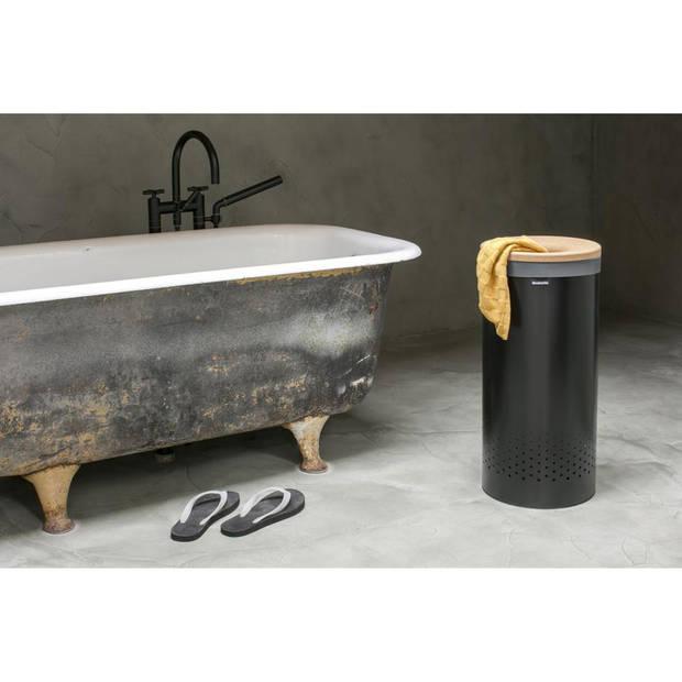 Brabantia wasbox - met kurken deksel - 35 liter - matt black