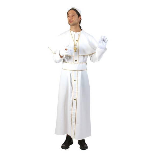 Wit Paus kostuum met solideo 56-58 (2XL/3XL)