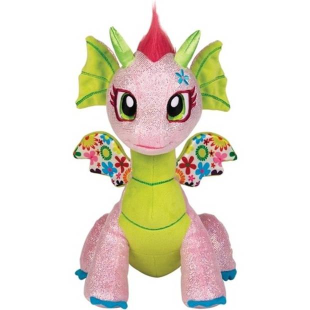 Roze/groene draak knuffeldier - 25 cm - Glimmer Flora - draken knuffels