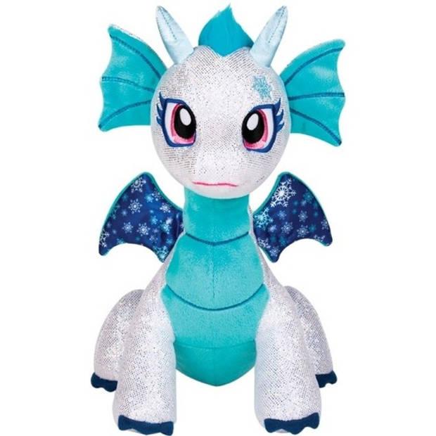 Wit/blauwe draak knuffel Shimmer Frost - 25 cm - draken knuffeldieren