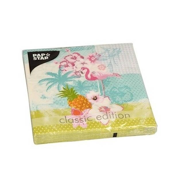 20x Flamingo tropische thema servetten 33 x 33 cm - Papieren servetten - Servetjes tropische vogel print -
