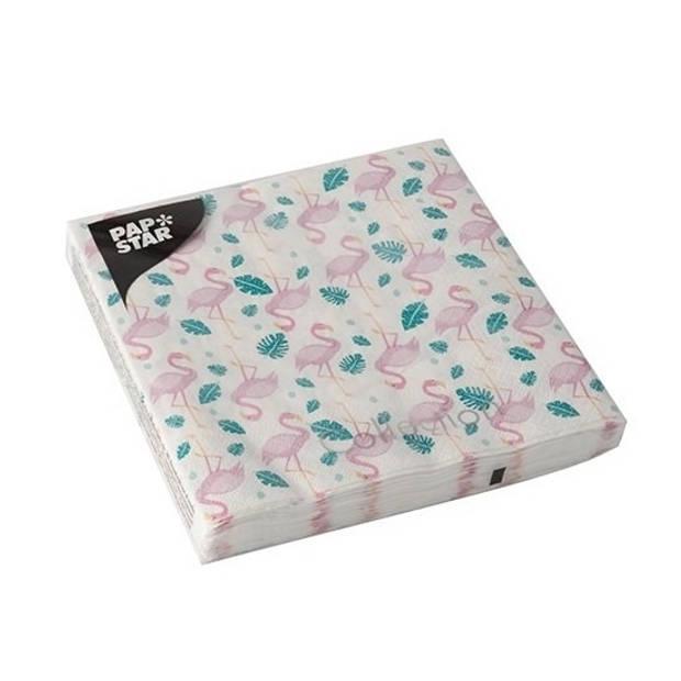 20x Flamingo thema servetten 33 x 33 cm - Papieren servetten