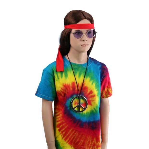 Tie-dye t-shirt rainbow voor kinderen L (9-11 jaar) - Carnavalskostuums