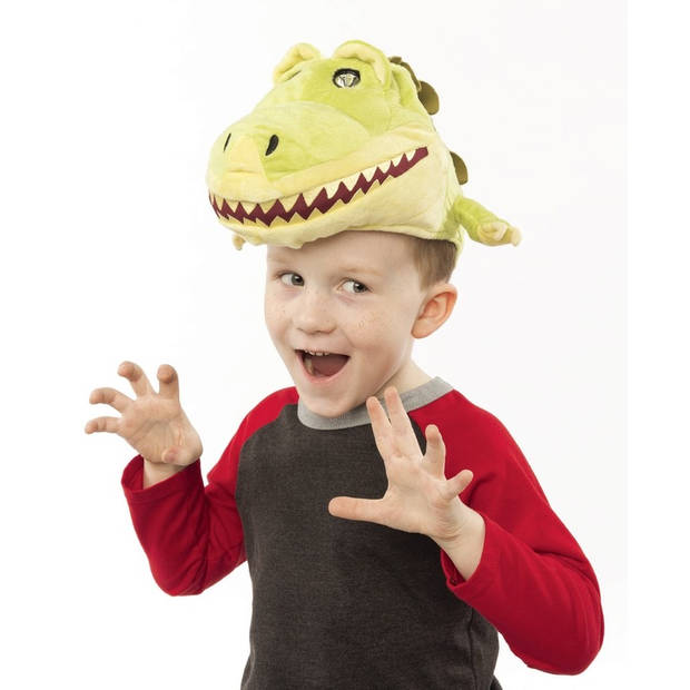 Pluche dinosaurus muts met leeslamp/lampjes ogen voor kinderen
