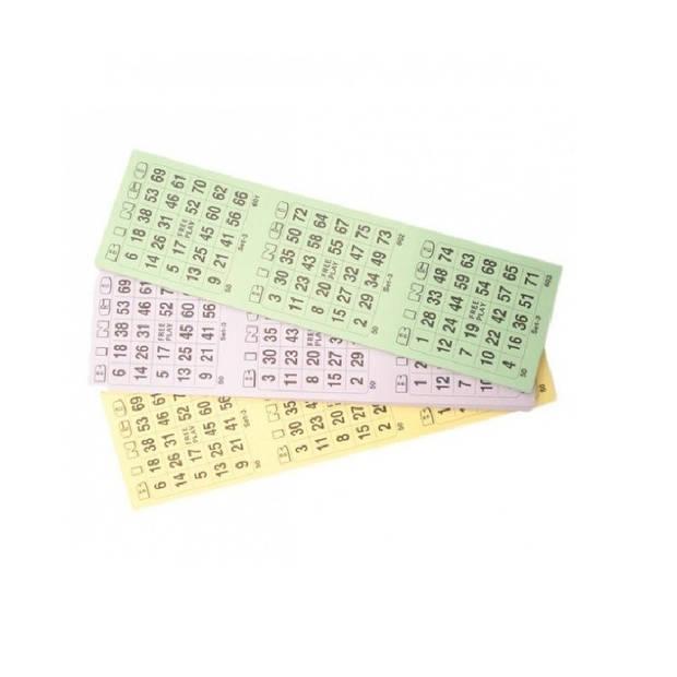 10x Bingokaarten blok 1-75 - 3 spellen per velletje - bingospel