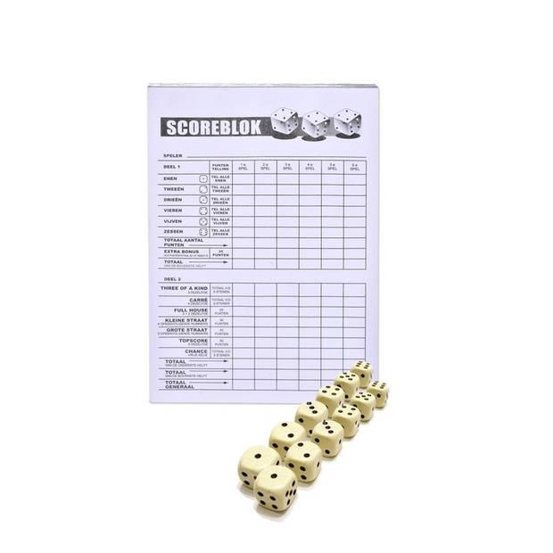 Scoreblok Yahtzee inclusief 12 dobbelstenen - Dobbelspellen