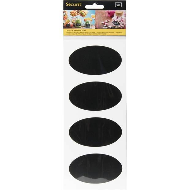 8x Krijtbord stickers ovaal 8 cm - Voorraad potten/schriften stickers