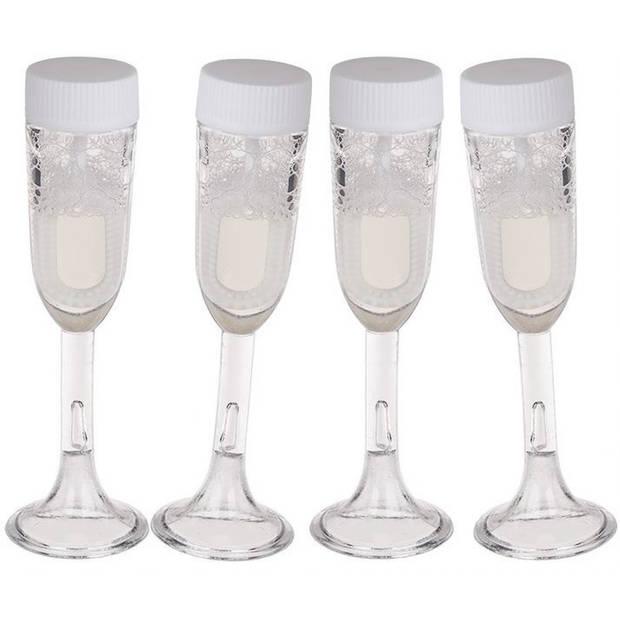 4x stuks Bellenblaas champagne bruiloft glas - Bellenblaas