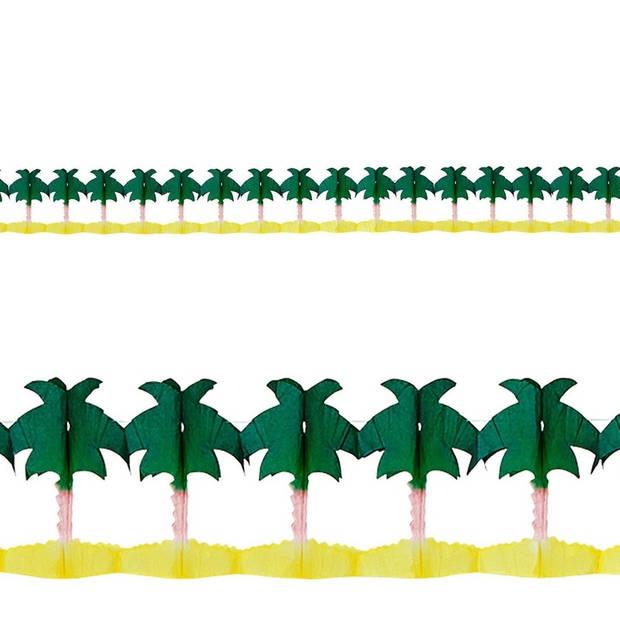 Hawaii palmbomen slingers 4 meter van papier - Tropische thema feestslingers